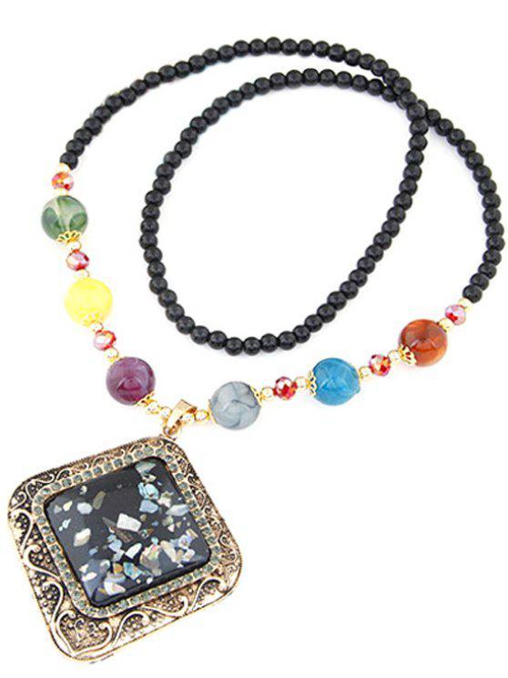 buy Faux Gem Beaded Geometric Necklace - BLACK