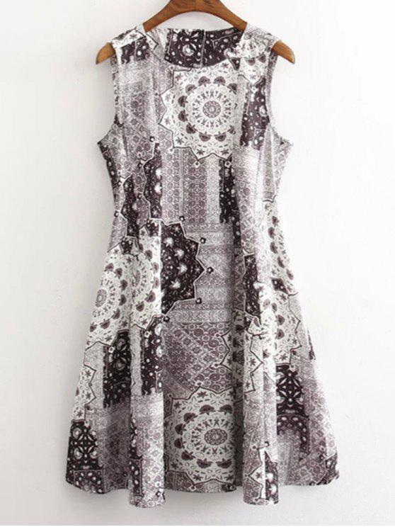 women's Floral Print Round Neck Sleeveless Dress - GRAY L