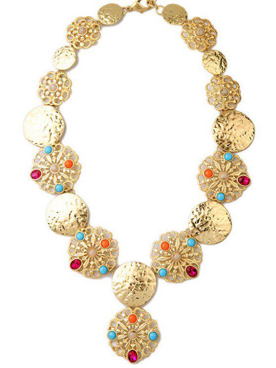 women's Faux Gem Golden Statement Necklace - GOLDEN