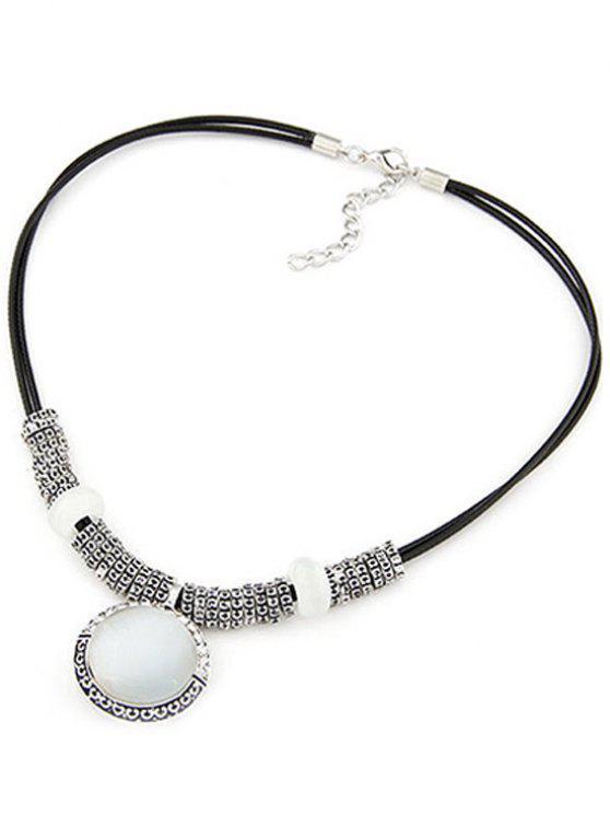 trendy Faux Gem Alloy Double-Deck Necklace - BLACK