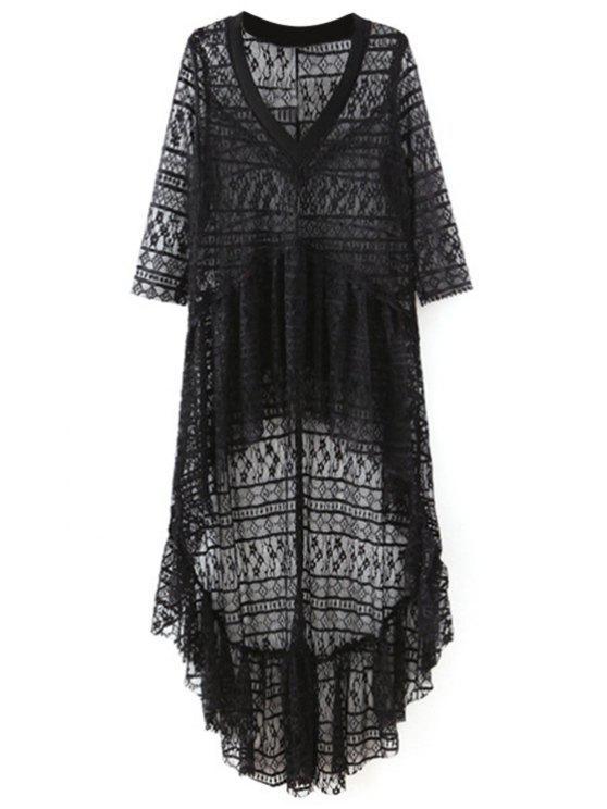 trendy High-Low Hem V-Neck 3/4 Sleeve Lace Cover Up - BLACK S