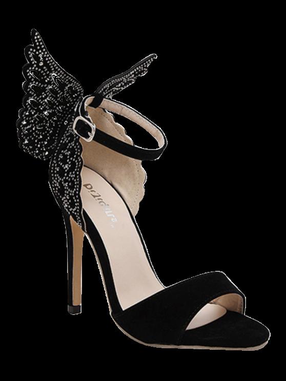 best Wings Rivet Stiletto Heel Sandals - BLACK 40