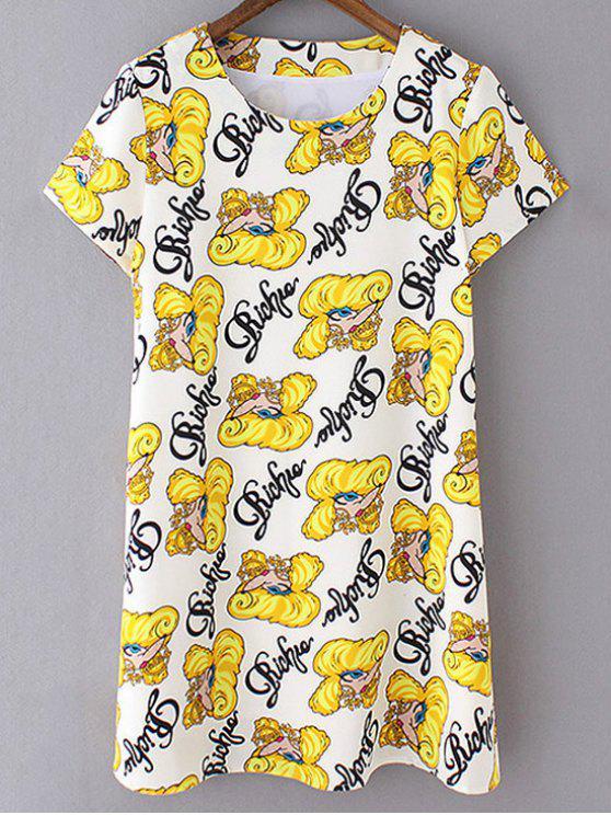 Vestido de impresión Desplazamiento de la historieta - Amarillo M