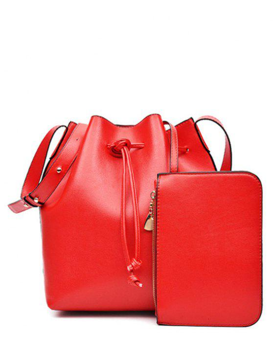 shop Solid Color String PU Leather Crossbody Bag - RED