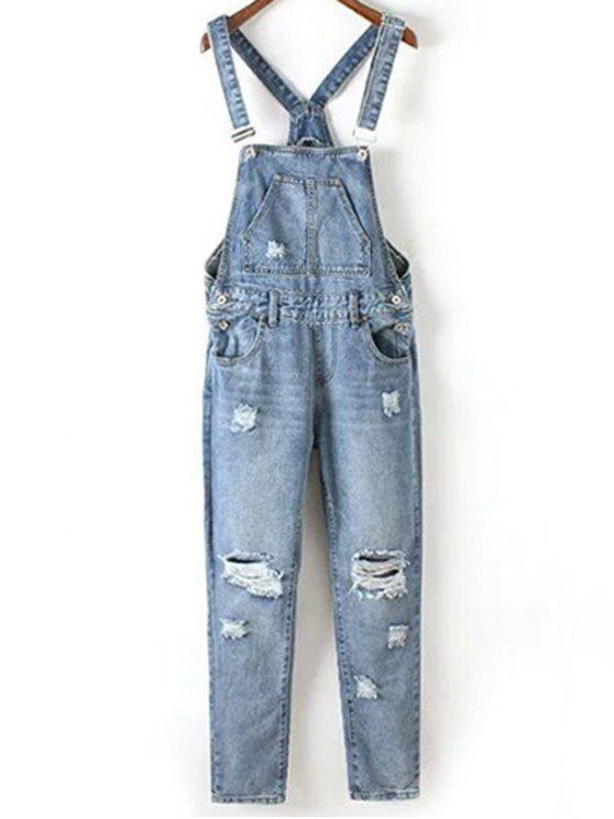 new Bleach Wash Ripped Denim Overalls - BLUE XL