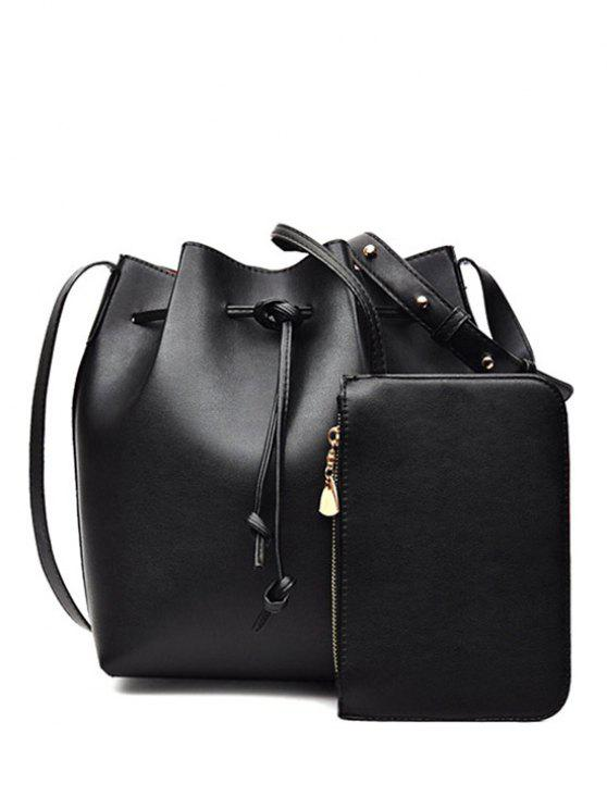 outfits Solid Color String PU Leather Crossbody Bag - BLACK