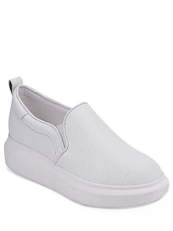 online Solid Color Embossing Platform Shoes - WHITE 38