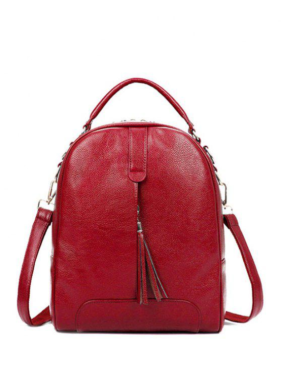 affordable Tassel Solid Color PU Leather Satchel - RED