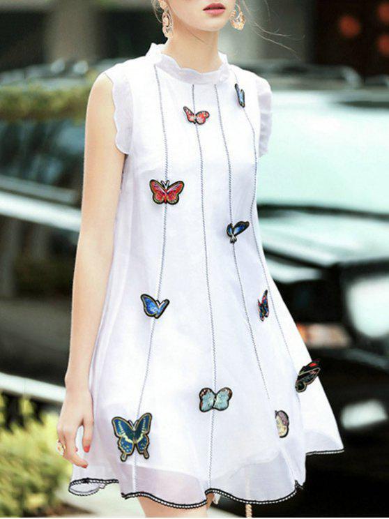 Bordado de la mariposa del soporte del cuello vestido sin mangas - Blanco L
