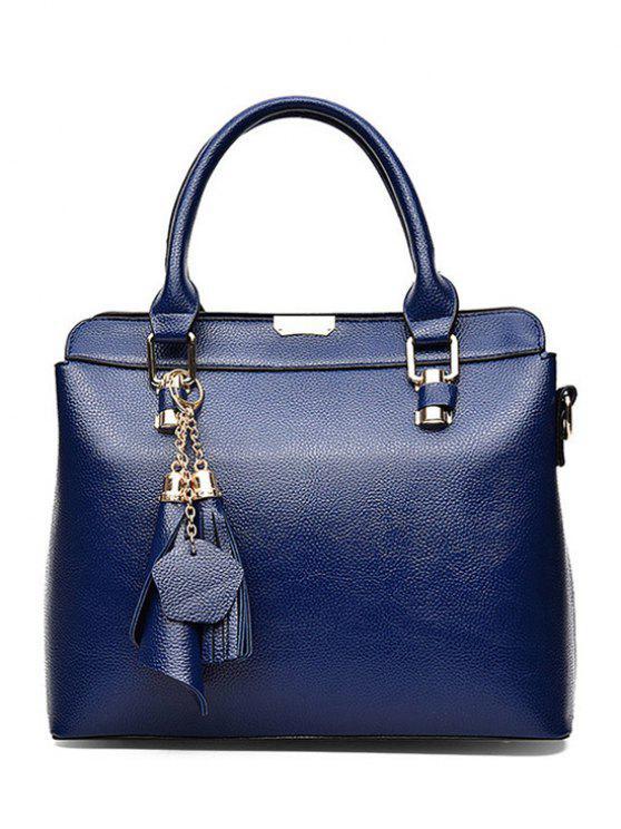 latest Pendant Solid Color PU Leather Tote Bag - BLUE
