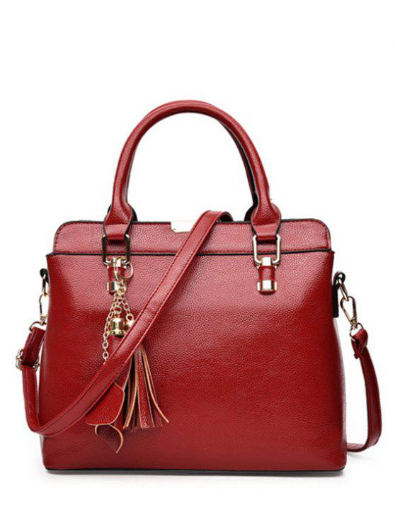 shops Pendant Solid Color PU Leather Tote Bag - WINE RED