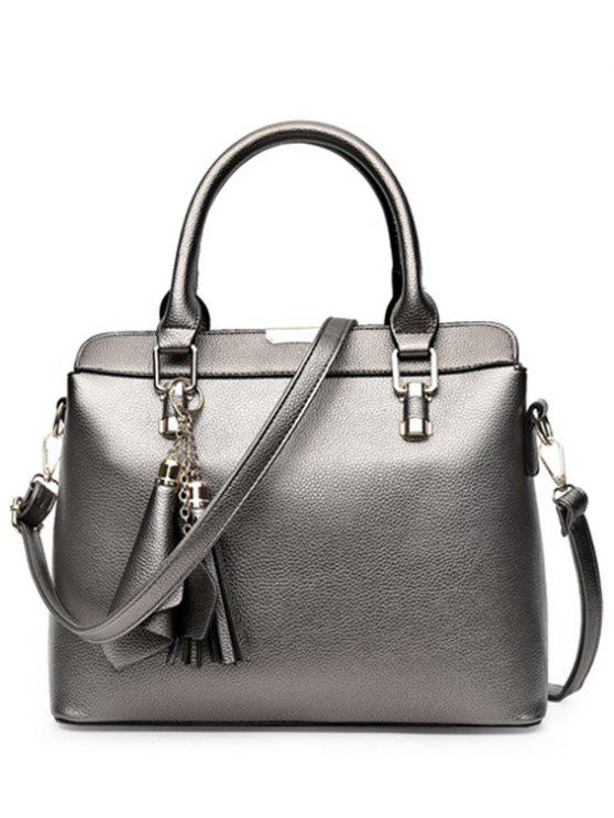 hot Pendant Solid Color PU Leather Tote Bag - SILVER