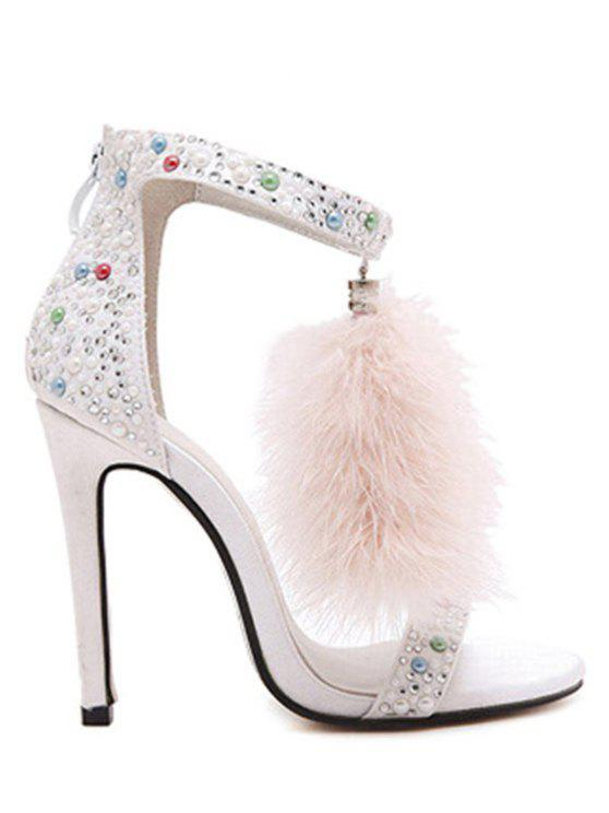 outfits Faux Fur Colorful Beads Stiletto Heel Sandals - WHITE 40