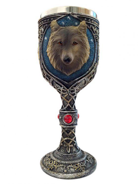 كأس مطرز بالرأس الذئب والأزاهار - النحاس اللون