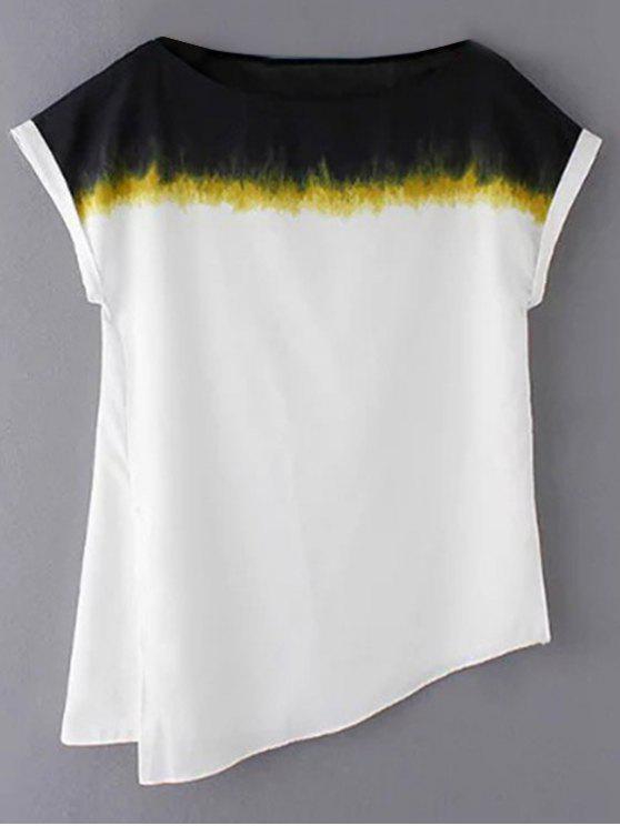 trendy Loose Side Slit Round Neck Short Sleeve T-Shirt - WHITE S
