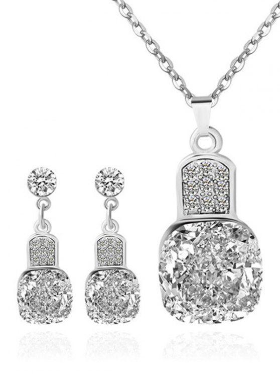 Diamantes de imitación conjunto de joyería de la boda geométrica - Plata