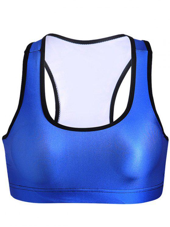 Brassière de yoga à col U - Bleu S