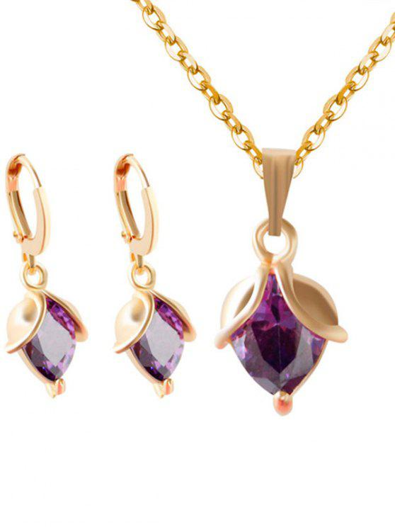 sale Faux Amethyst Crystal Wedding Jewelry Set - PURPLE