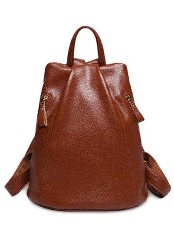 affordable Solid Color PU Leather Zips Satchel - BROWN