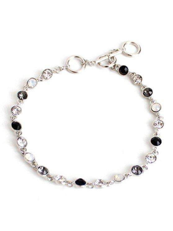 chic Chic Rhinestone Decorated Anklet - SILVER