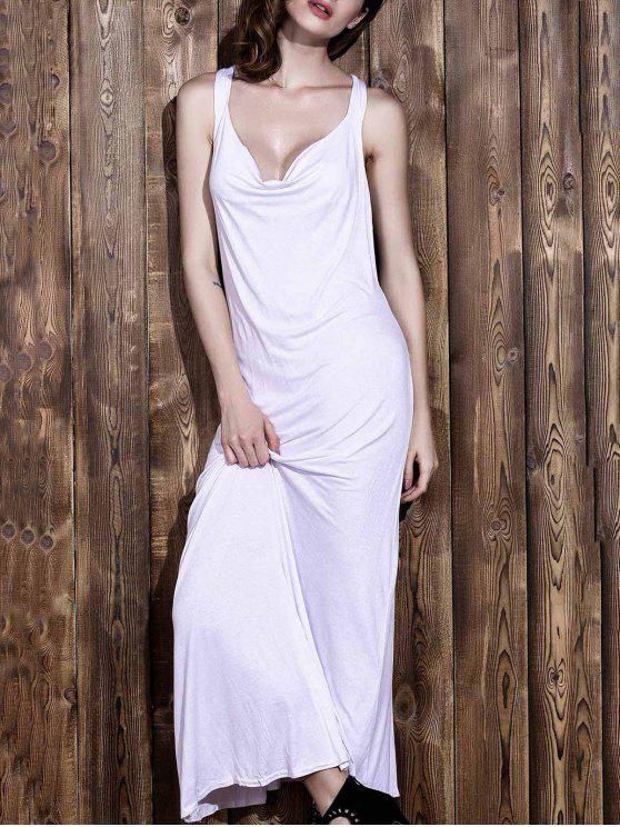 بلا أكمام عارية الظهر ماكسي V فستان أبيض الرقبة - أبيض S