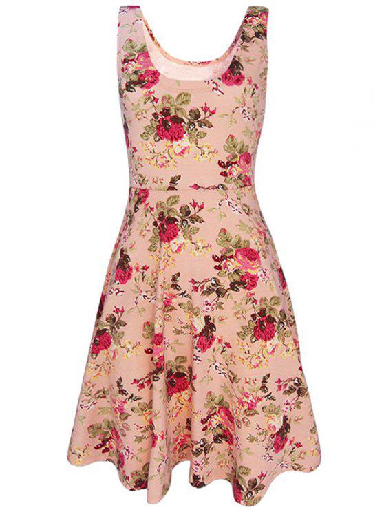 online Sleeveless Chiffon Flroal Flowing Dress - PINK S