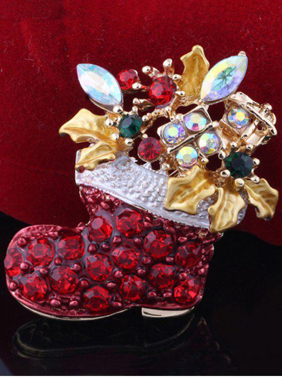 women's Rhinestone Adorn Christmas Boots Brooch - RED