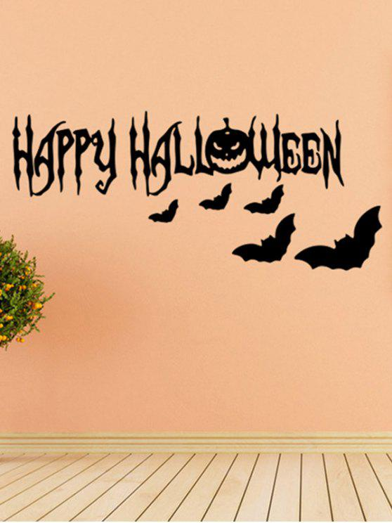 shop Room Decoration Wordart Happy Halloween Bat Design Vinyl Wall Sticker - BLACK