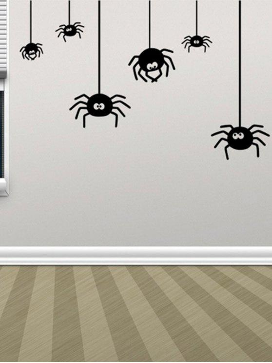 Decoración irregular diseño de la araña etiqueta de la pared de Halloween - Negro