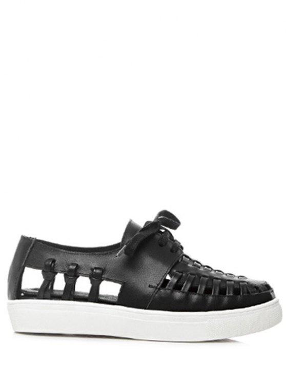 Solides Sandales couleur à lacets creux Out - Noir 39