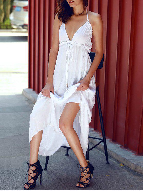 Blackless Pure Color Halter Robe sans manches - Blanc L