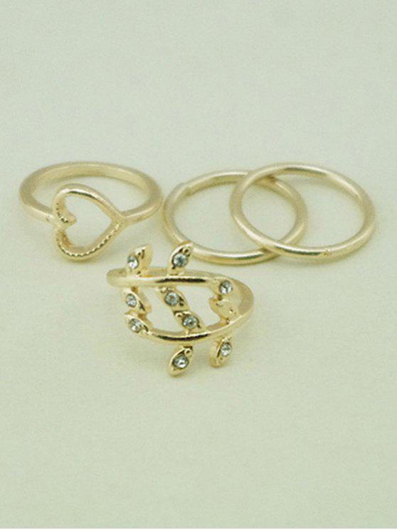 Elegante simple del estilo anillos de la aleación - Dorado Uno de tamaño
