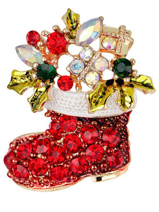 new Christmas Rhinestone Shoe Brooch - RED