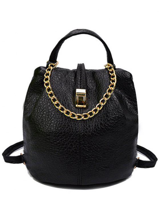 affordable Solid Color Chains PU Leather Satchel - BLACK