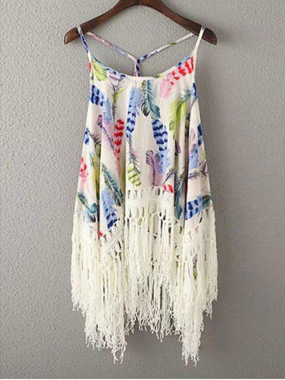 chic Tassels Spliced Spaghetti Straps Printed Tank Top - BLUE ONE SIZE(FIT SIZE XS TO M)