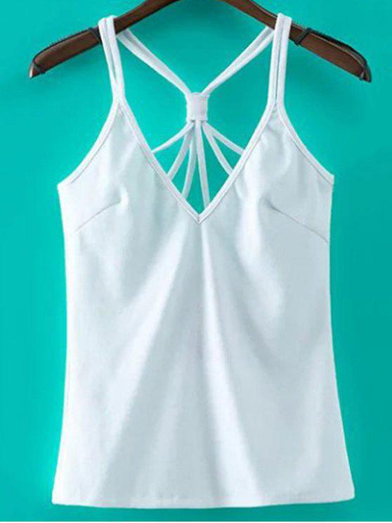 Solid Color Cut Out Spaghetti-Trägern Tank Top - Weiß S