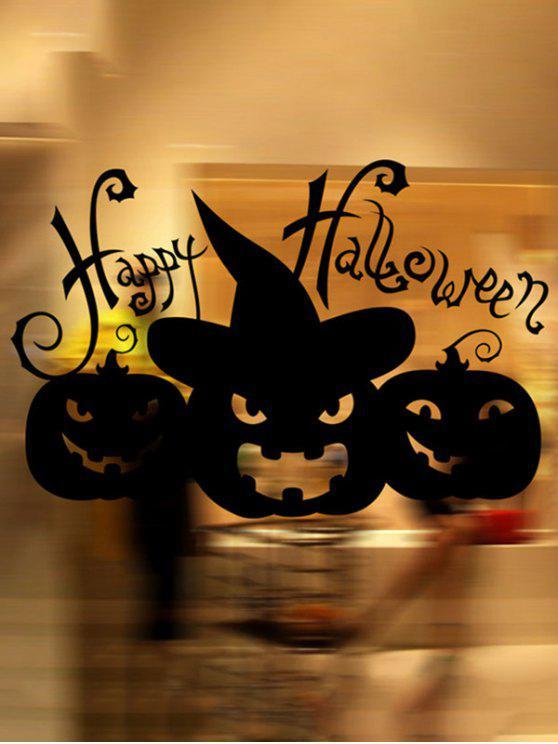 trendy Happy Halloween Pumpkin Witch Removable Waterproof Room Wall Sticker - BLACK