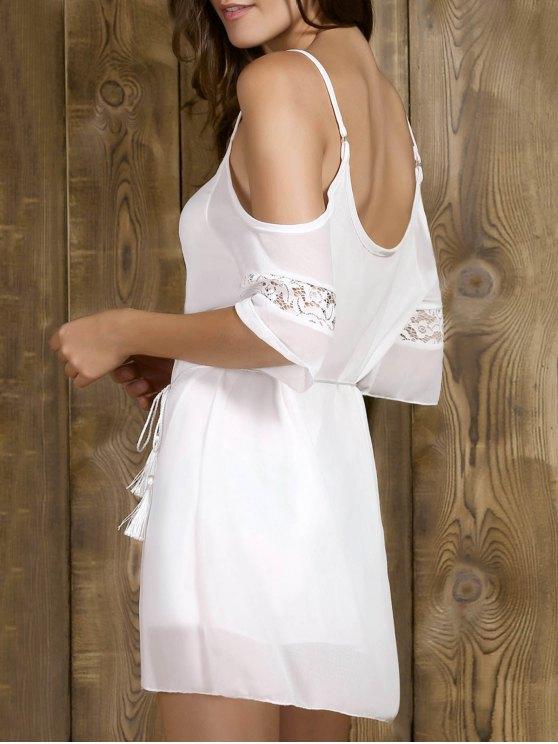 Vestido con hombros con cordones de correas espaguetis corto Sleeeve - Blanco S