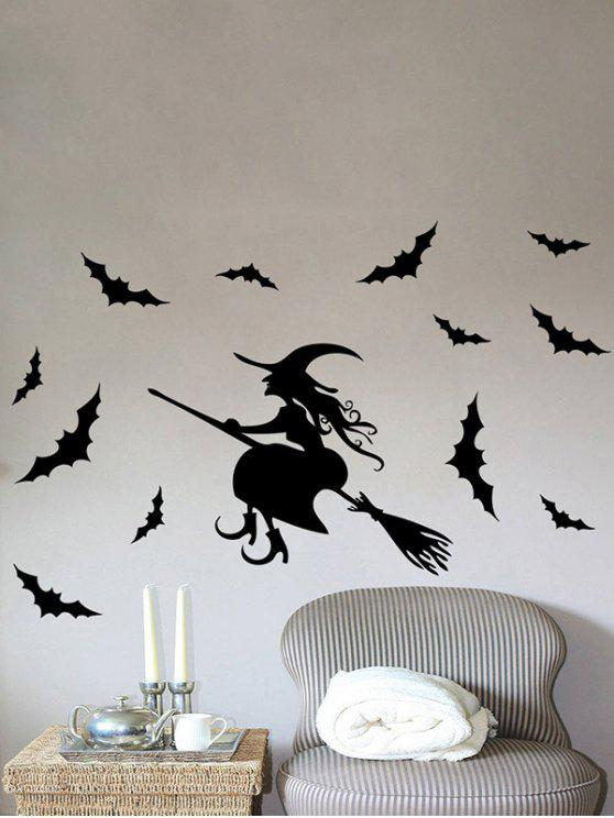 chic Waterproof Happy Halloween Witch Bats Vinyl Wall Stickers Custom - BLACK