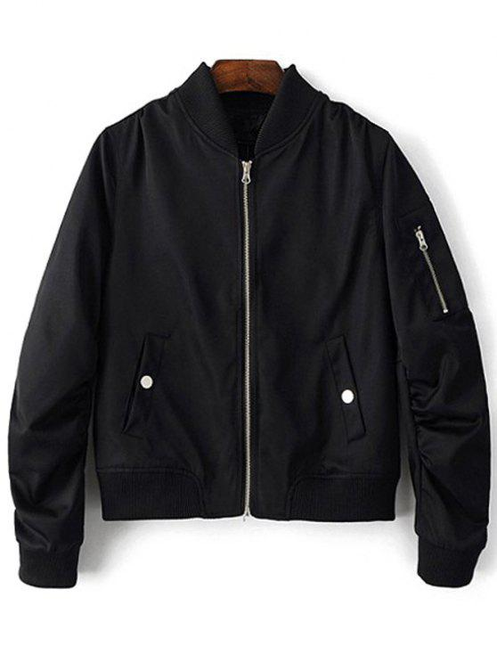 Zippered Sleeve Bomber Jacket - Black L