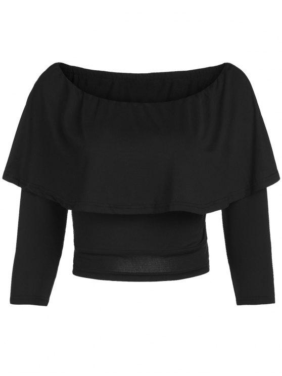 Flouncing Off The T-shirt colhido Ombro - Preto XL