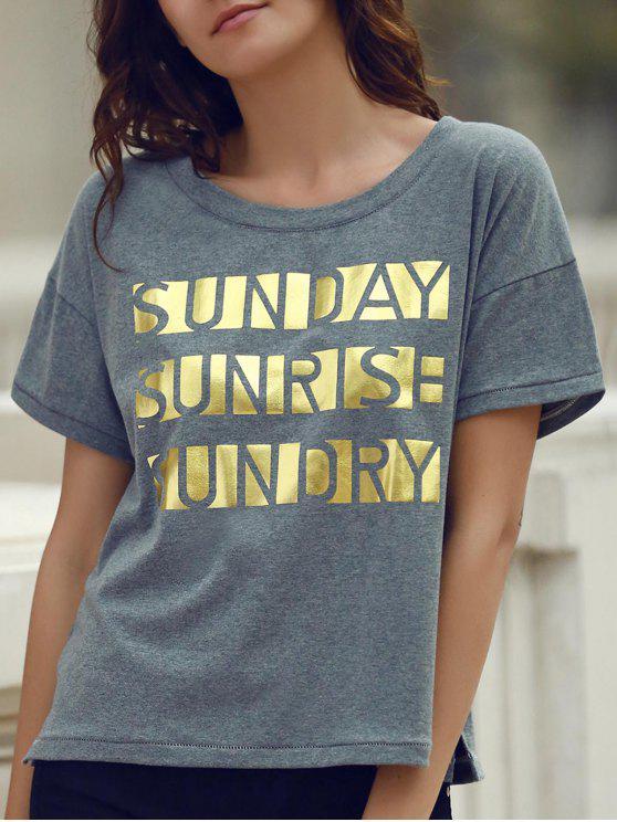 T-shirt Lettre d'impression à manches courtes col rond - Gris S