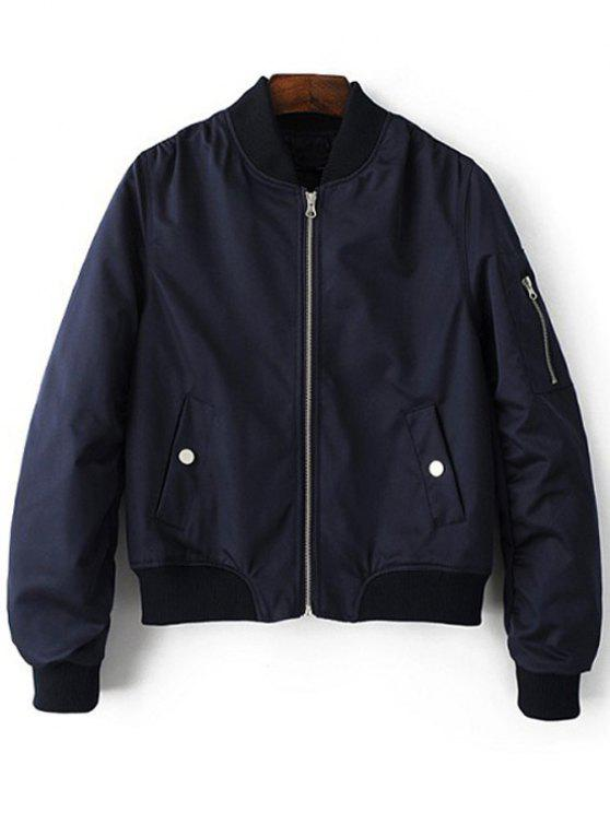 Stehen Neck Zip Up Pilot Jacket - Blau L