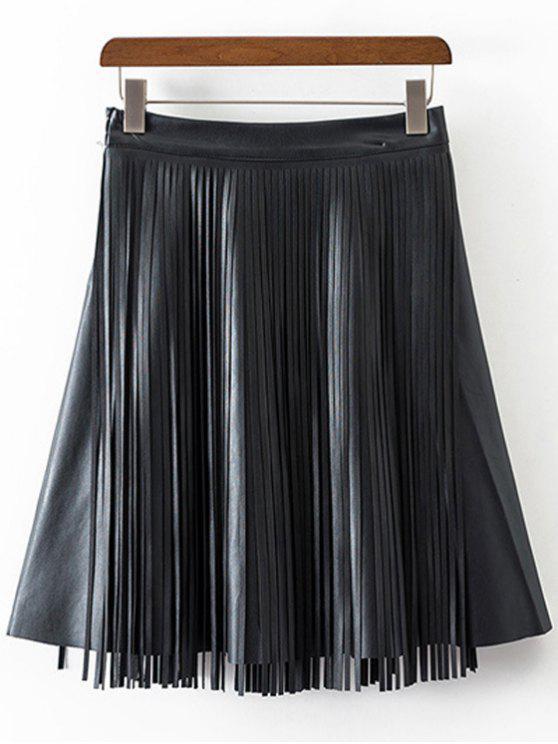 Cuero de la PU de las borlas de talle alto empalmado Falda - Negro M