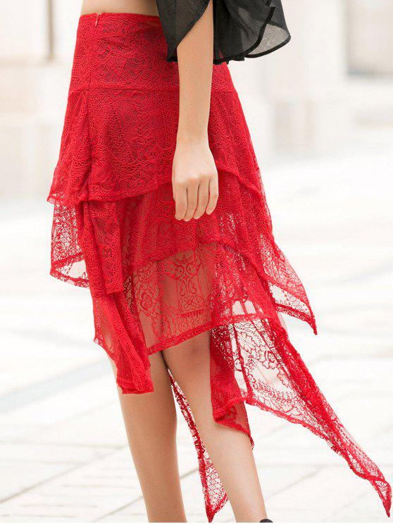 trendy Asymmetric Solid Color Lace Skirt - RED M