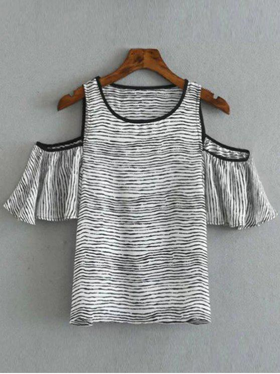 lady Striped Round Collar Cold Shoulder T-Shirt - WHITE AND BLACK S