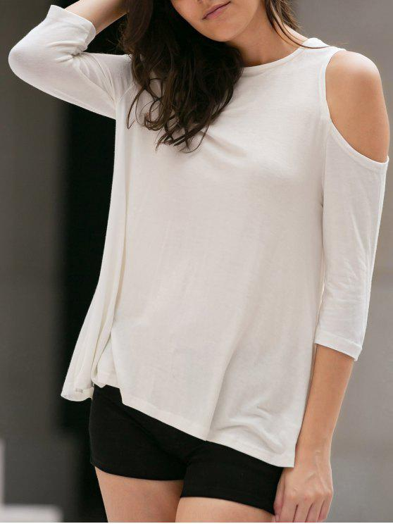 womens Cold Shoulder Round Collar 3/4 Sleeve Solid Color T-Shirt - WHITE S