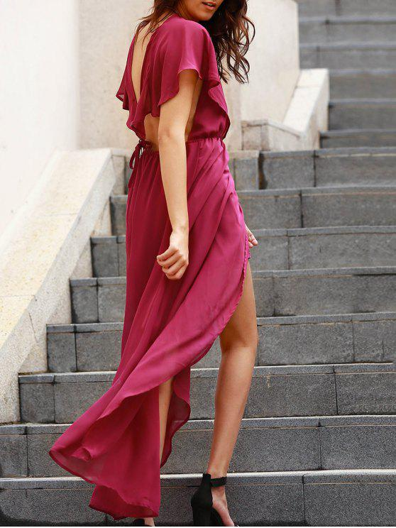 trendy Backless Plunging Neck Flouncing High Slit Dress - PURPLE S