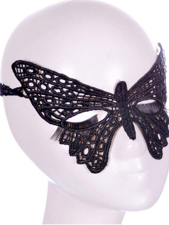 buy Faux Lace Butterfly Headband Party Mask - BLACK