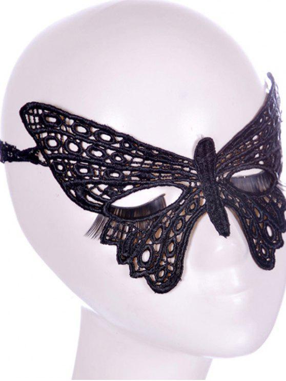 Máscara Faux venda del partido de la mariposa del cordón - Negro